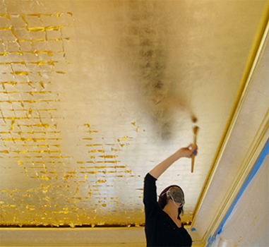 gold leaf ceiling installation