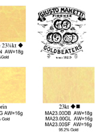 manetti gold color chart